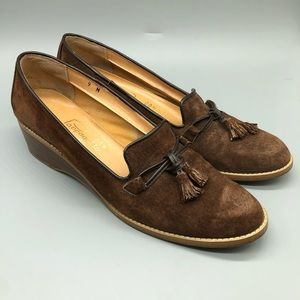 Vintage Pappagallo brown suede tassel loafers